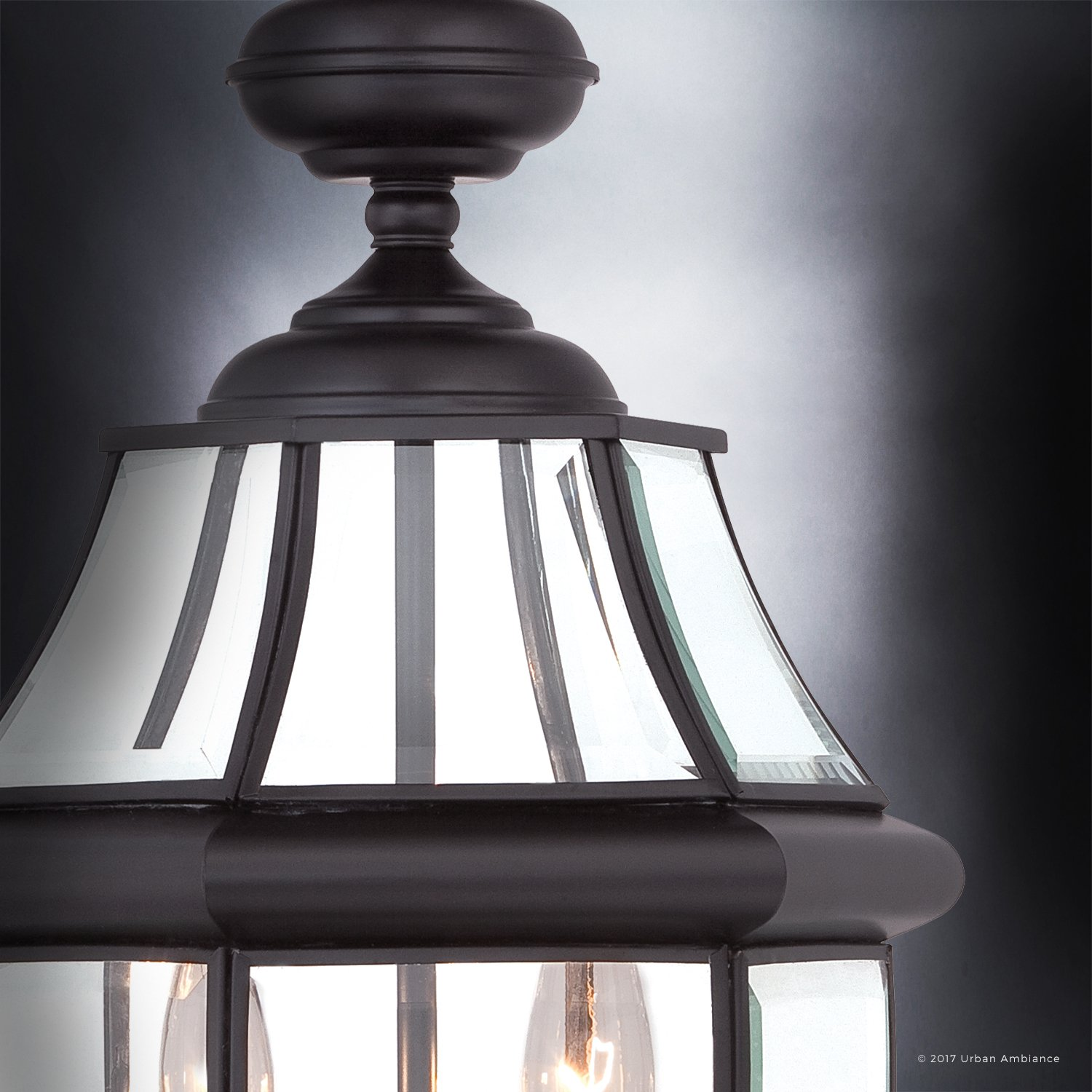 Luxury Colonial Outdoor Post Light, Large Size: 21''H x 11''W, with Tudor Style Elements, Versatile Design, High-End Black Silk Finish and Beveled Glass, UQL1148 by Urban Ambiance by Urban Ambiance (Image #5)