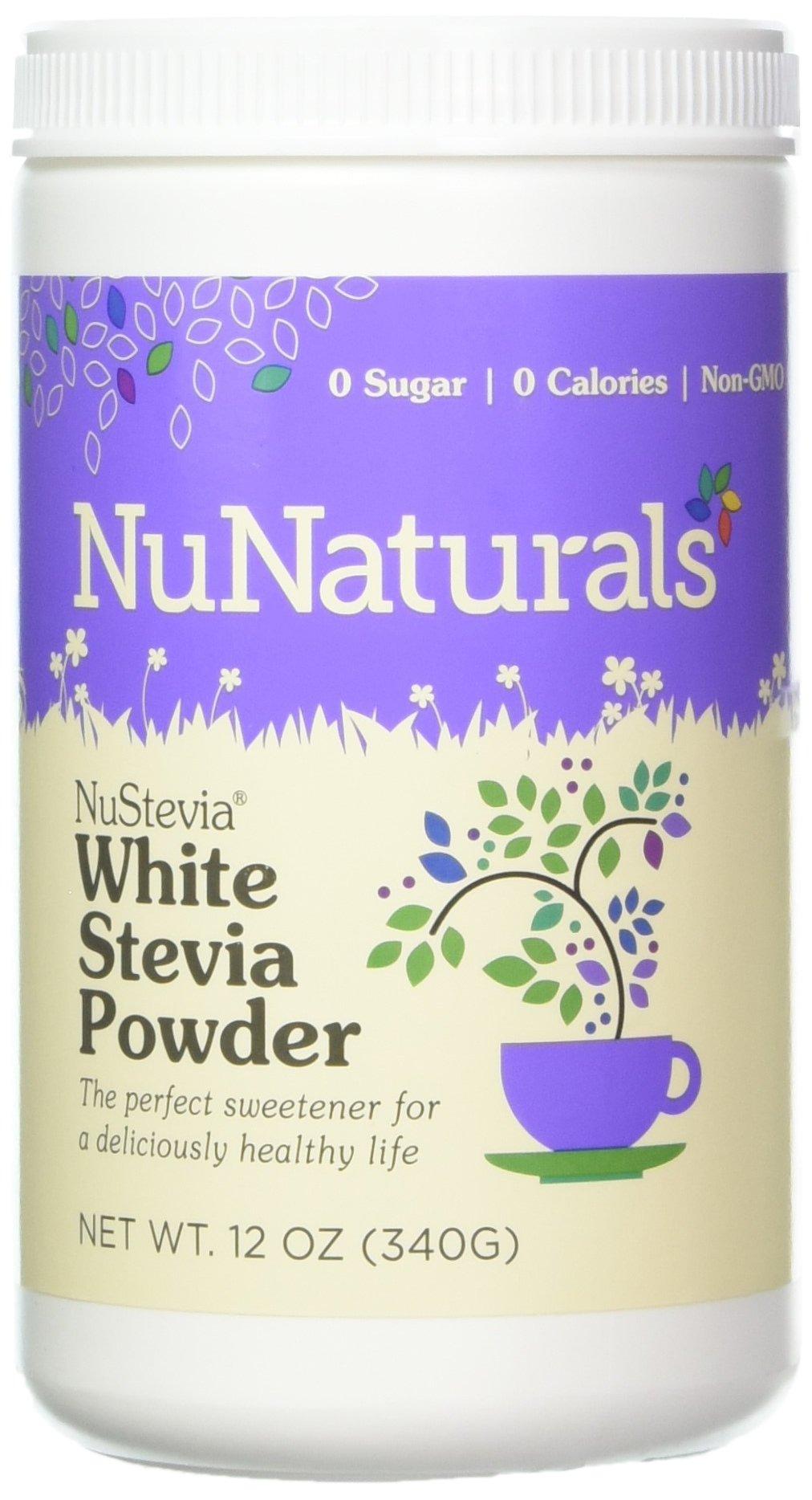NuNaturals - NuStevia - White Stevia with Maltodextrin Powder - All-Purpose Sweetener - 12 Ounce