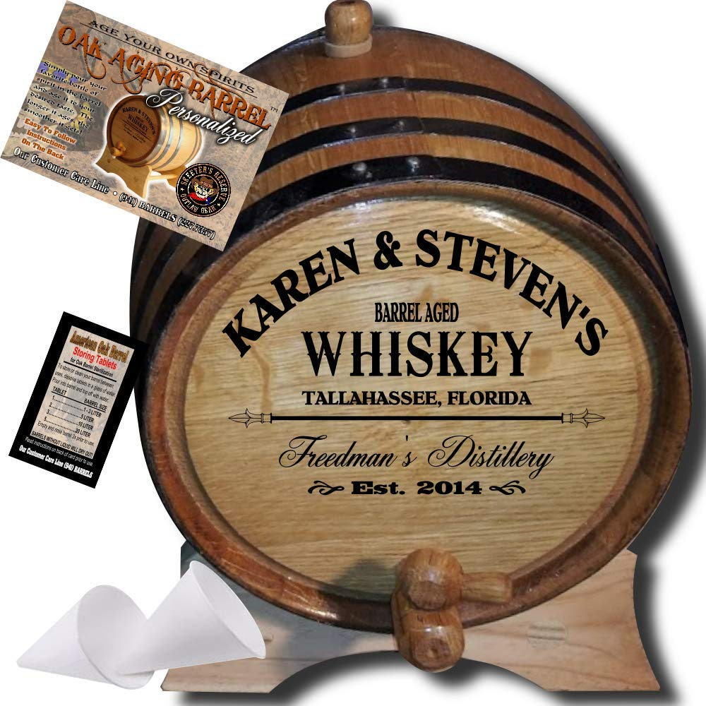 Personalized American Oak Whiskey Aging Barrel (063) - Custom Engraved Barrel From Skeeter's Reserve Outlaw Gear - MADE BY American Oak Barrel - (Natural Oak, Black Hoops, 2 Liter) by American Oak Barrel