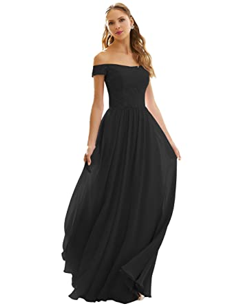 03d666d4860d Women's Off The Shoulder A Line Lace Evening Dress Long Chiffon Formal Prom  Party Gown Ruched