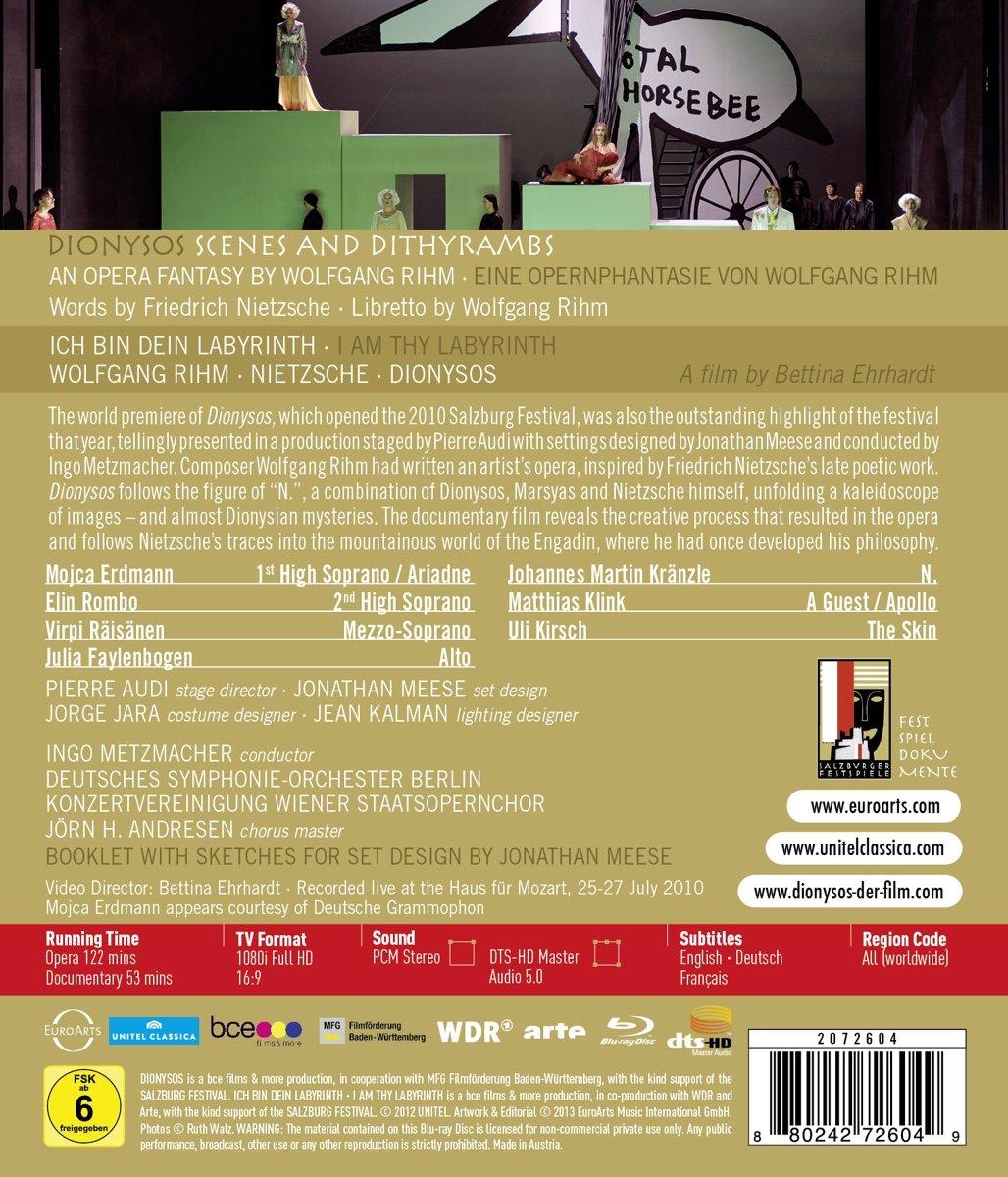 7cdf3a4297b Amazon.com: Rihm: Dionysos - An Opera Fantasy (Blu Ray) [Blu-ray]: Johannes  Martin Kränzle, Elin Rombo, Matthias Klink, Mojca Erdmann, Julia  Faylenbogen, ...
