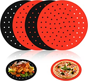 4 Pack air fryer liners square 8.5 /Round 8 Inch reusable silicone square air fryer parchment paper liners mat, Air Fryer Accessories For COSORI, INSTANT VORTEX, POWER XL, NUWAVE, and More   BPA Free