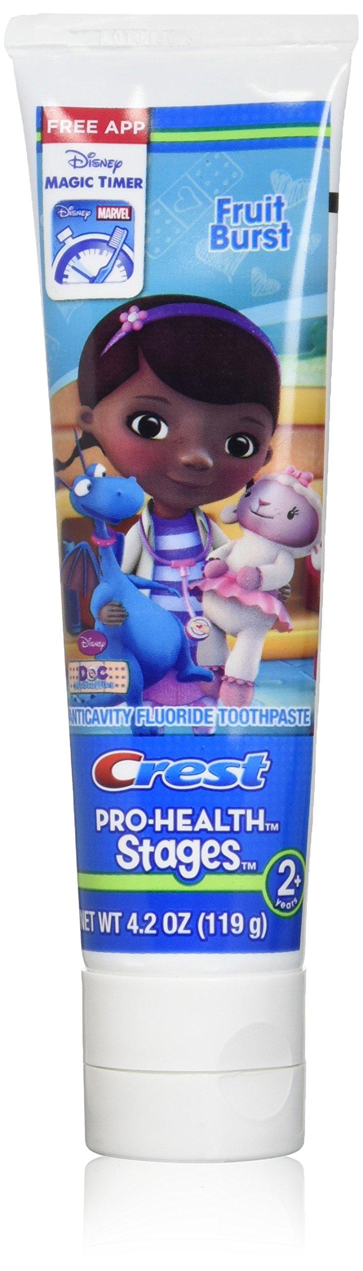 Crest Pro-Health Stages Disney Jr. Doc Mcstuffins 2+ Years, Fruit Burst Toothpaste 4.20 oz ( Pack of 12)