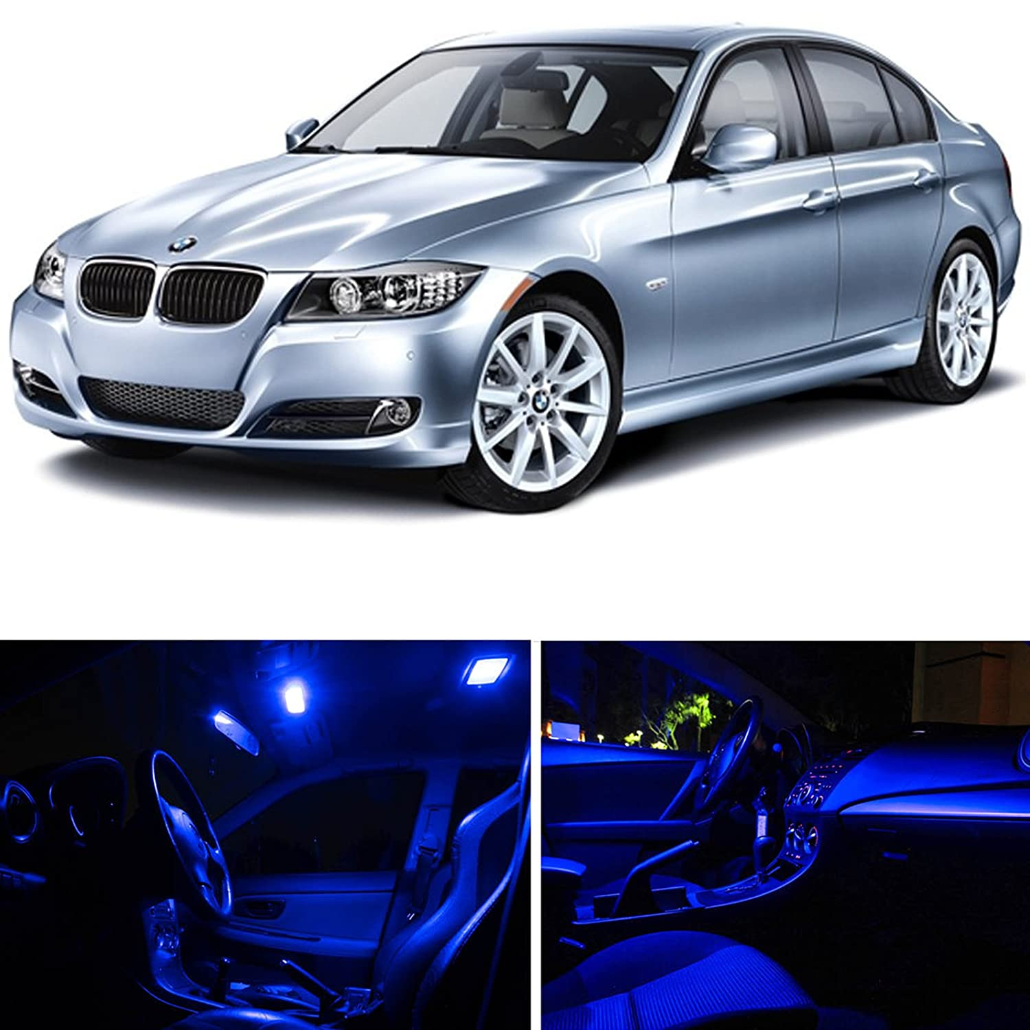 Amazon com ledpartsnow bmw 3 series e90 e92 m3 2006 2012 blue premium led interior lights package kit 14 pieces automotive