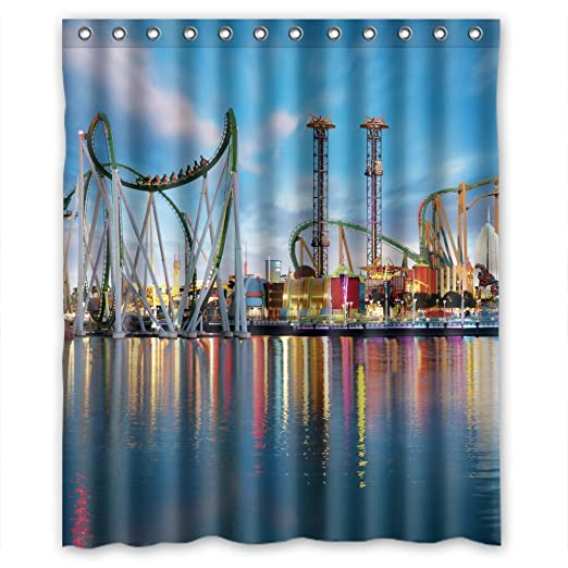Amazon Charming Amusement Park Scenery Shower Curtain Measure