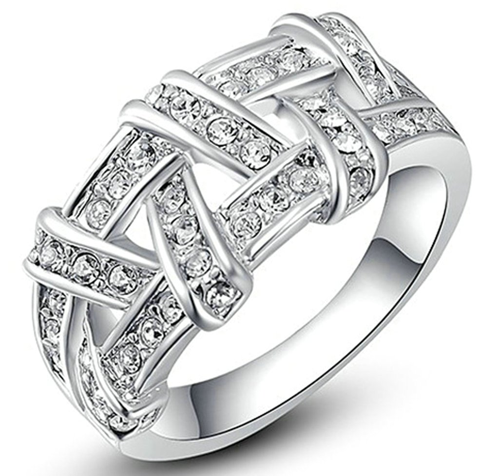 MoAndy Jewelry Women's 18K Gold Plated Wedding Band Ring Austrian Crystal Weave Shape Size 8 White Gold