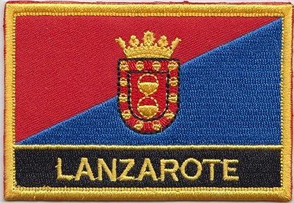 Lanzarote Canarias España bandera bordada insignia Rectangular: Amazon.es: Jardín