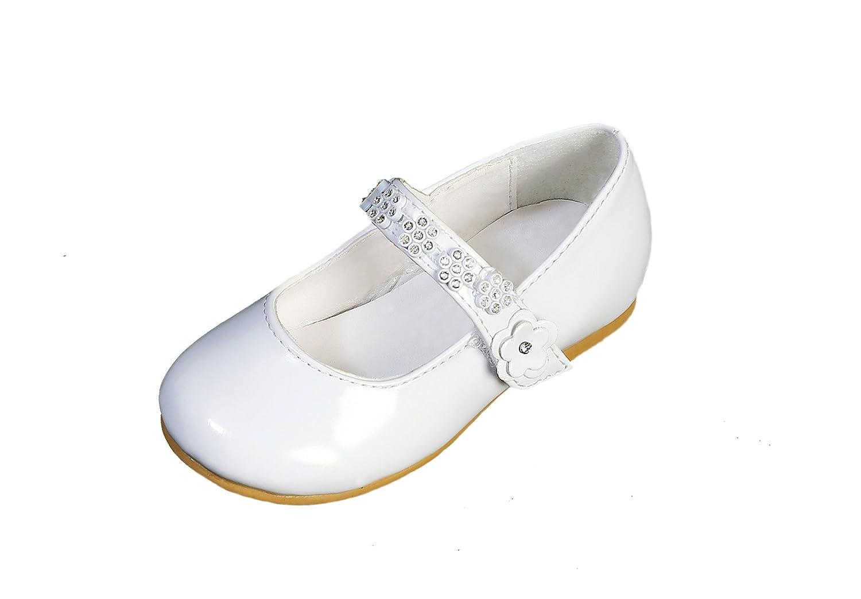 DressForLess Rhinestone Flowers on Strap Patent Flower Girl Shoes