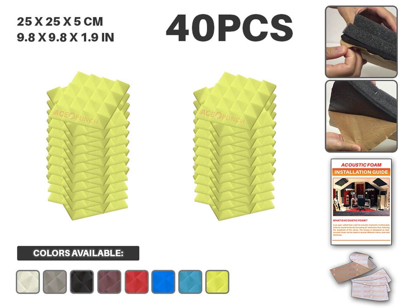 ACEパンチ40パックセルフ粘着ピラミッドAcoustic FoamパネルDIYデザインStudio Soundproofing壁タイルサウンド断熱材withフリーマウントタブ9.8