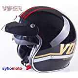 NUEVO DISEÑO CARA ABIERTO VINTAGE MOTOCICLETA PAULSON PICO VISERA INTERIOR CASCO ROJO REBAJAS (XS (