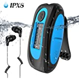 Swimming MP3 Player with Clip Screen, AGPTEK 8GB IPX8 Waterproof Music Player with Headphones for Running Sports, S07E Support Shuffle