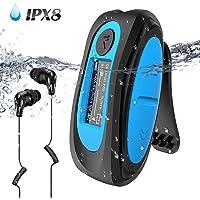 AGPTEK MP3 IPX8 Aquatic 8 GB met display, S07 Clip MP3-speler Waterdicht Ondersteunt Rdaio FM, willekeurige modus voor zwemmen, hardlopen, blauw
