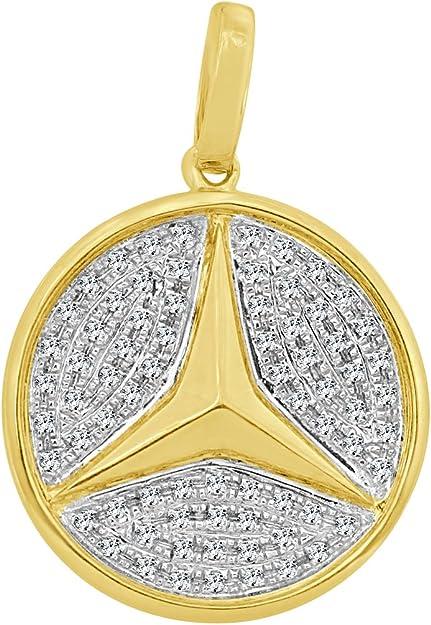 Details about  /Men/'s 14K Yellow Gold Over Mercedes Medallion Diamond Pendant Pave Charm 1.00 CT