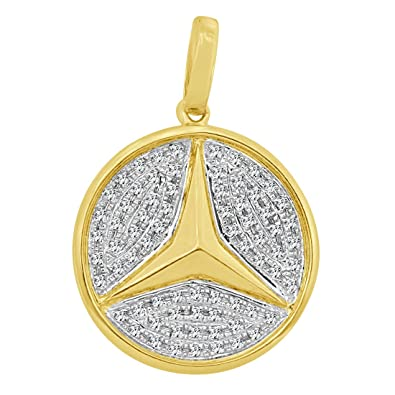Amazon mens 10kt yellow gold mercedes benz pendant with 044 mens 10kt yellow gold mercedes benz pendant with 044 carats genuine real diamonds aloadofball