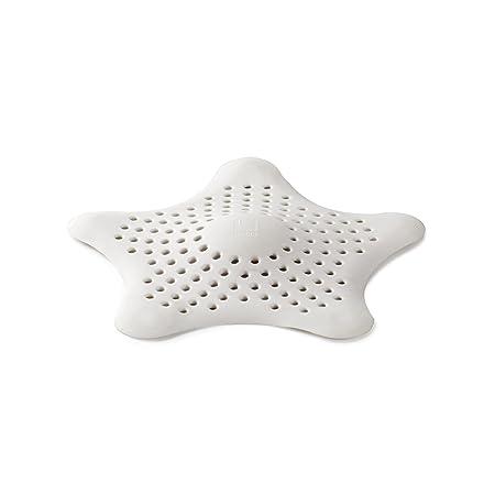 Umbra Starfish Abfluss Haarfänger mit 5 Starken Saugnäpfen – Silikon Abflusssieb und Haar Stopper für Dusche, Badewanne, Wasc