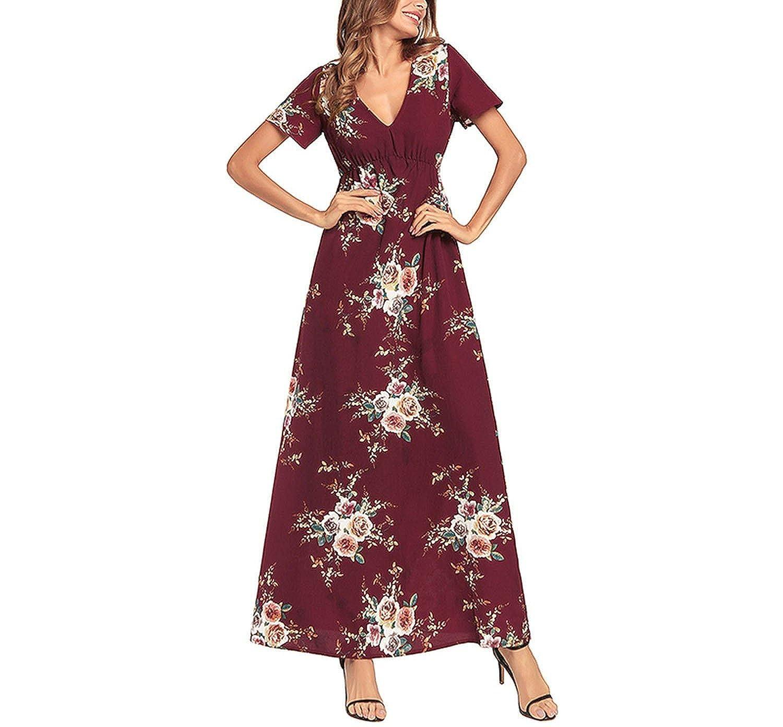 bf77d9530c Women Chiffon Dress Floral Print Sexy V-Neck Boho Maxi Summer Party Dress  Short Sleeve Long Bench at Amazon Women's Clothing store: