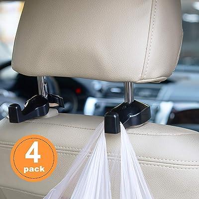 TOPLU Car Headrest Hooks Vehicle Universal Car Organizer Car Back Seat Headrest Hanger Holder Hook for Bag Purse Cloth Grocery, Black- Coloured(4 Pack): Home Improvement