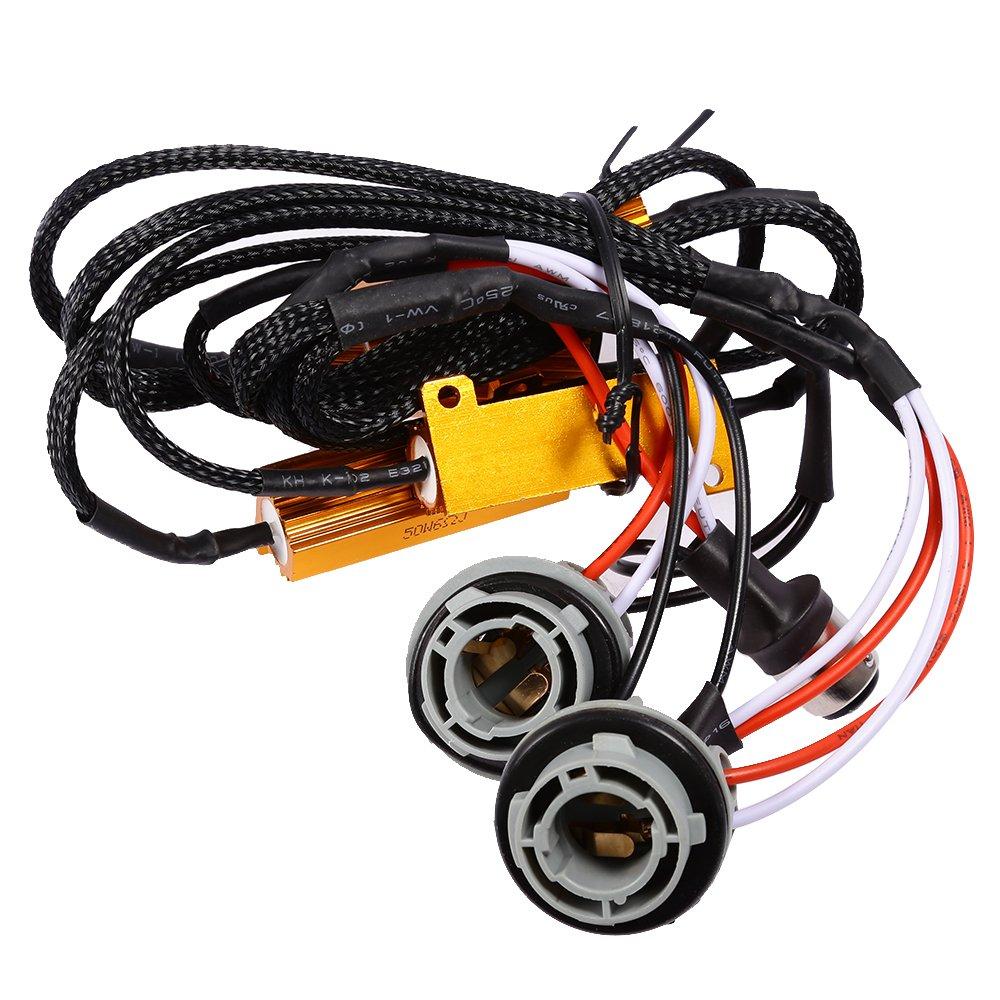 Load Resistors for 1157 1157A LED Bulbs 12V 50W 6 ohm BAY15D S25 Hyper Flash Turn Signal Blink Light Error Code Resistors Decoder (2-Pack) Anxingo