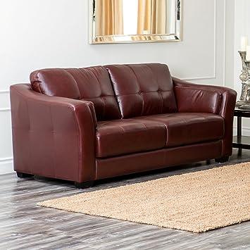 Abbyson Living Florentine Top Grain Leather Sofa In Burgundy