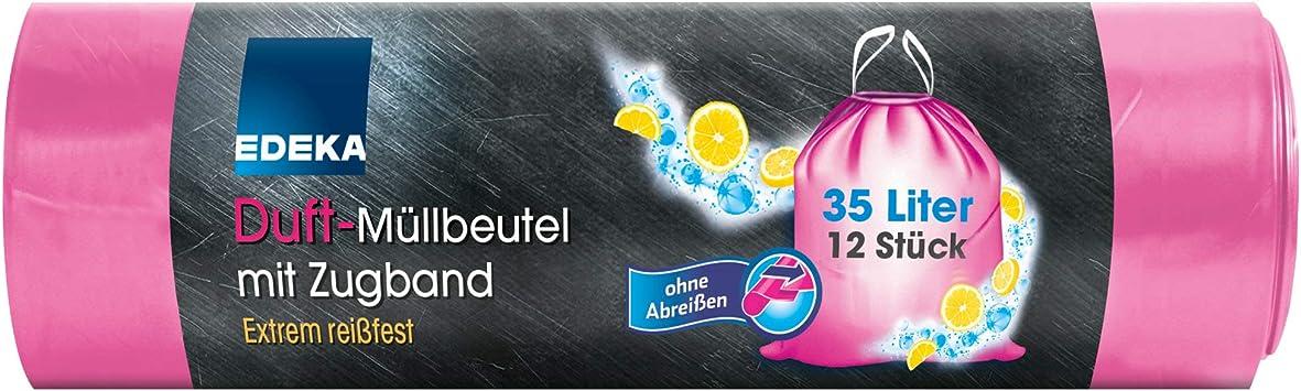 Gut Günstig Edeka 12 Duft Müllbeutel Pink Mit Zugband 35 Liter Abfallbeutel Mülleimerbeutel Mit Duft Amazon De Küche Haushalt