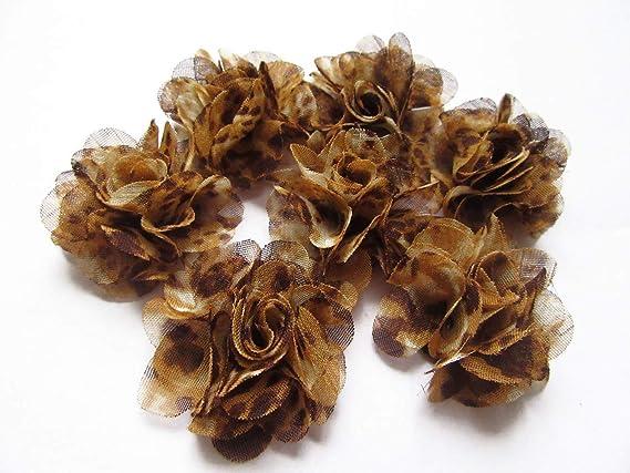 Yycraft Lot de 28 fleurs en mousseline de soie Rose shabby 6,3 cm x 1,8 m gris