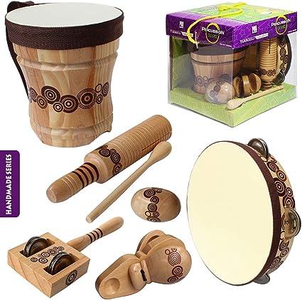 Kit De Música De Madera Natural Benelet Para Niños Juego De Instrumentos Musicales De Percusión Con Batería Bongo Para Niños Educación De Música Preescolar Juguetes Musicales Para Niños Pequeños Toys