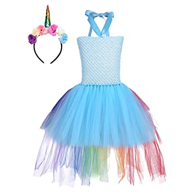 YiZYiF Children Girl Mythical Dress Kids Princess Tutus Party Dresses Easter Halloween Costume Rainbow Train Blue