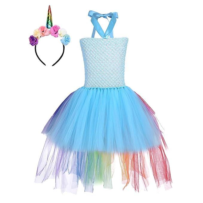 Freebily Vestido de Princesa de Flores de Verano para Niñas y Diadema de Unicornio Vestido Infantil