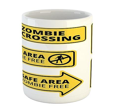 Amazon.com: Zombie taza por Ambesonne, zona segura Zombie ...
