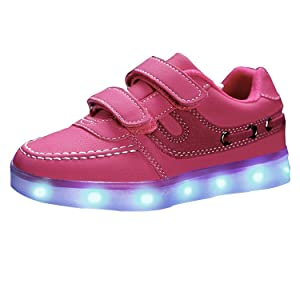 Uerescha Unisex Kids Light Up Sport Running Shoes USB Charging LED Luminous Flashing Sneakers Pink30 M EU / 12 M US Little Kid