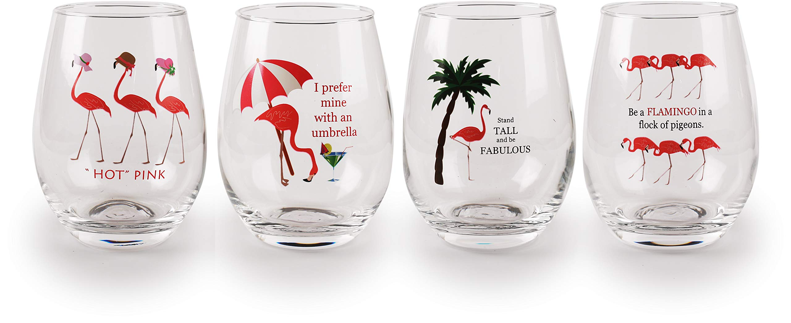 Circleware Flamingo Stemless Wine Glasses with Decal, Set of 4, Home & Kitchen Funny Party Entertainment Dining Glassware for Water, Beer, Juice, Ice Tea, Whiskey Bar Beverage Cup Gifts, 18.5 oz,