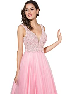 Sarahbridal Prom Dresses Tulle V Neck Long Party Gown Ball Dress with Beading Applique for Girls