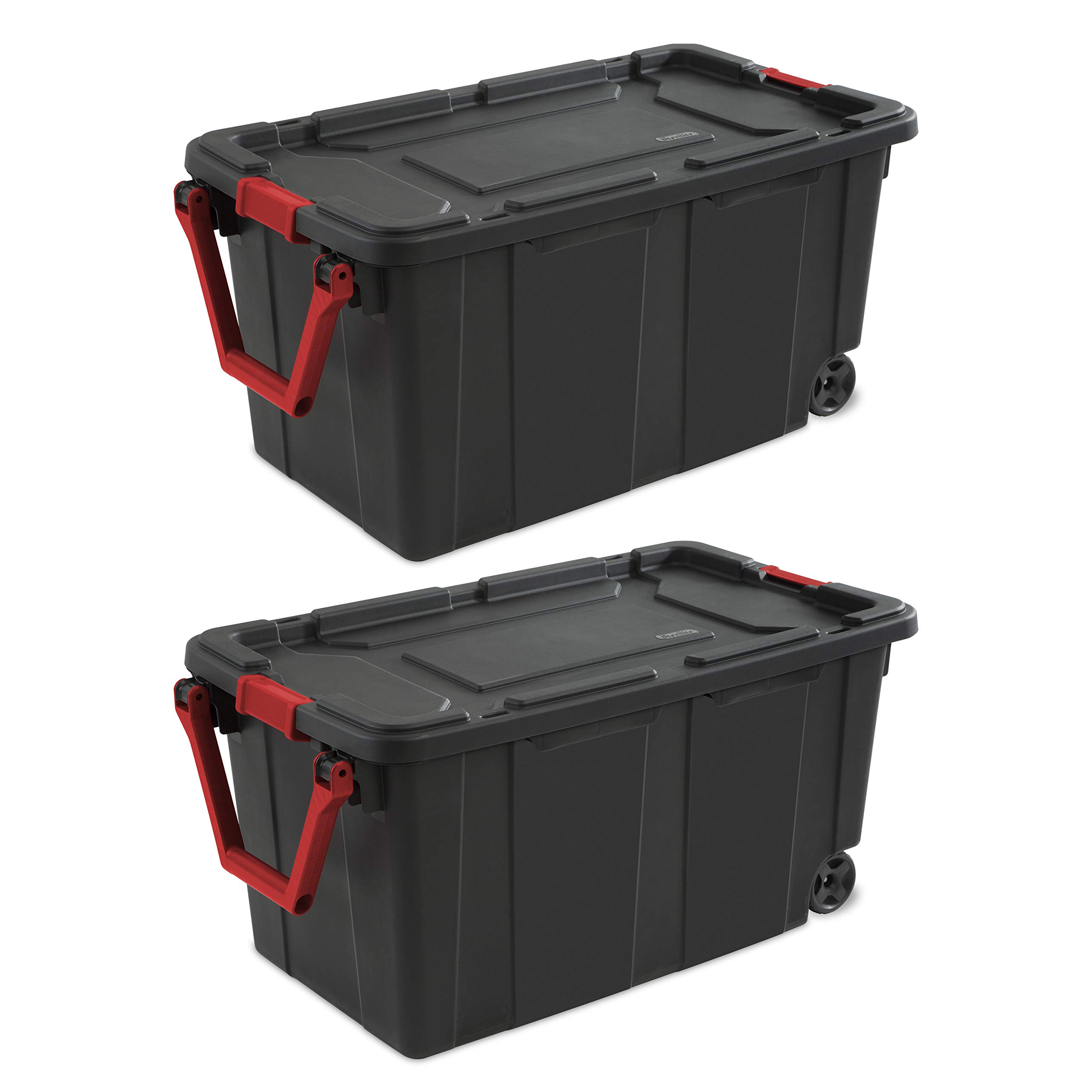 Sterilite 14699002 40 Gallon/151 Liter Wheeled Industrial Tote, Black Lid & Base w/ Racer Red Handle & Latches, 2-Pack by STERILITE