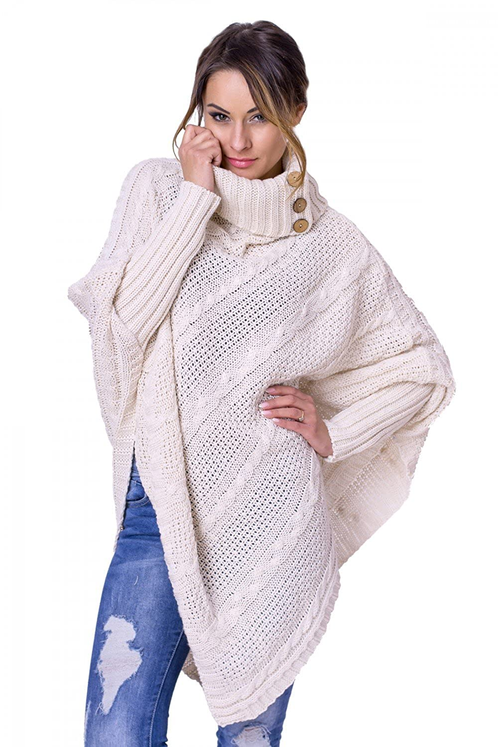 Zeta Ville Fashion - Womens Funnel/Turtle Neck Cable Knit Poncho Cape - 956z ONE Size US 4/6/8 ONE Size) PONCHO_SET_7