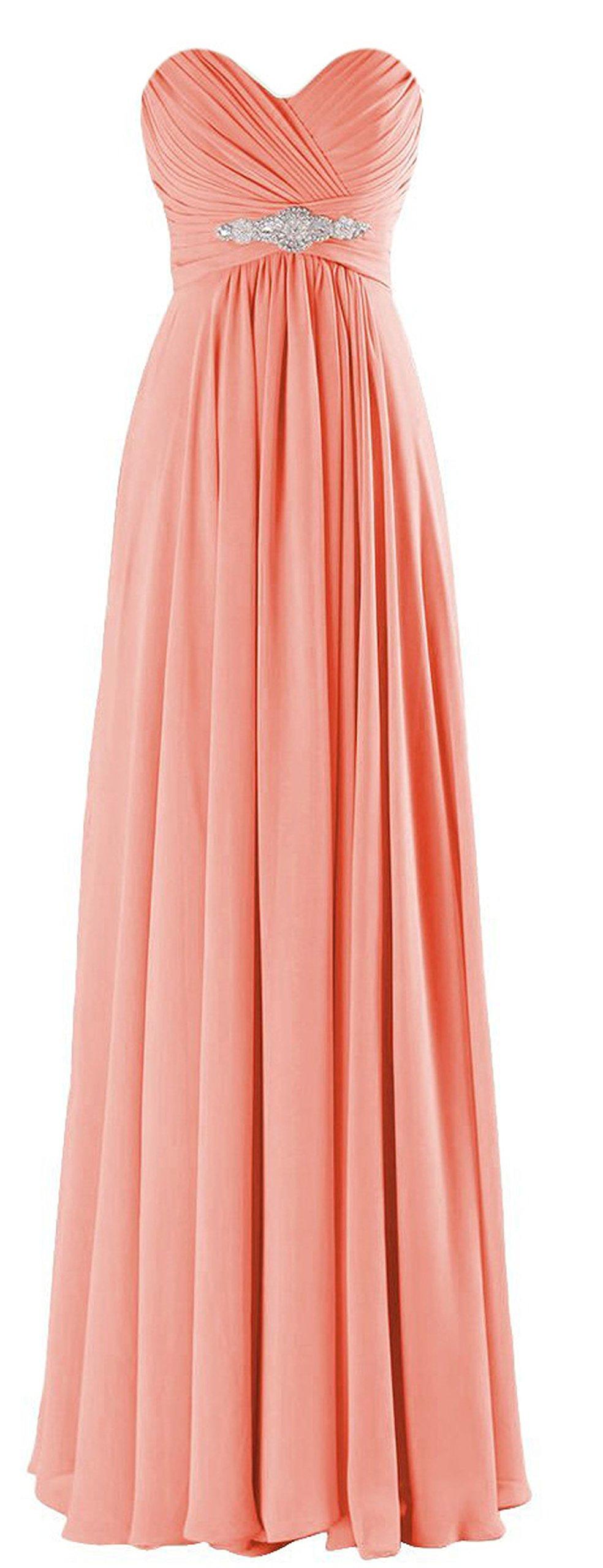 ThaliaDress Long Chiffon Sweetheart Evening Bridesmaid Dresses Prom Gowns T002LF Peach US22W