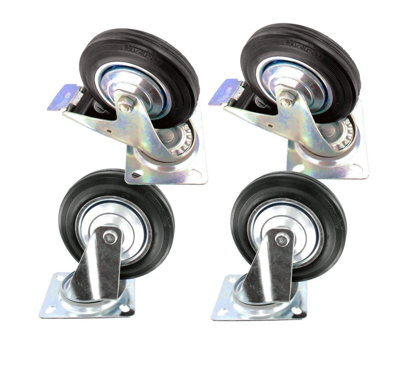 4 St/ück Transportrollen lenkbar 125 mm Lenkrollen 2 x mit Bremse//Gummibereifung Lenk//FS