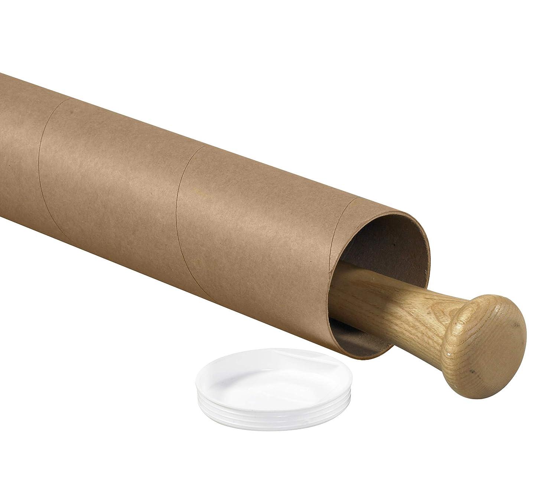 Kraft 3 x 36 Pack of 24 Aviditi P3036K Mailing Tubes with Caps