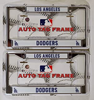 los angeles la dodgers mlb chrome metal 2 license plate frame set