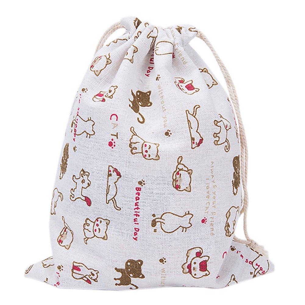 jingyuu Cute Cat Drawstring Bag Cloth Drawstring Backpack for Storage Traveling Backpack Size 25 * 32CM
