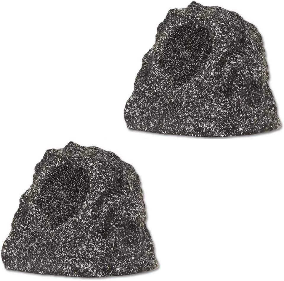 Theater Solutions B41GG Fully Wireless 120 Watt Rechargeable Battery Bluetooth Rock Speaker Pair Granite Link Up to 99 Speakers Wirelessly, Granite Gray