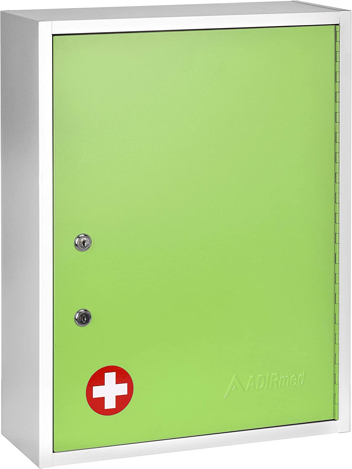 AdirMed Large Dual-Lock Medicine Cabinet – Wall Mounted & Secure Steel Medicine Pills & First Aid Kit & Emeergency Kit Box with Locks for Home Office & School Use (Green)