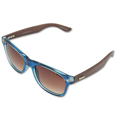 64098165af Amazon.com: Pugs Bamboo Sunglasses Brown With Blue frame: Clothing