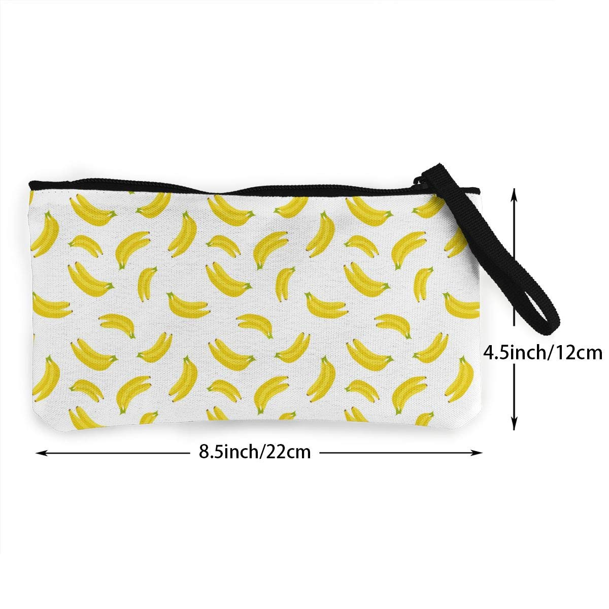 Fruit Banana Pattern Canvas Coin Purse Cute Change Pouch Wallet Bag Multifunctional Cellphone Bag with Handle