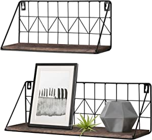 Mkono Wall Mounted Floating Shelves Set of 2 Rustic Metal Wire Storage Shelves Display Racks Home Decor