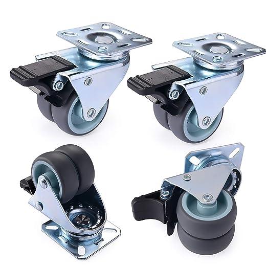 50mm Rueda Pivotantes Ruedas de Freno Industrial Con Placa de Montaje. GBL 4 Giratorias de Goma 50mm 200KG Ruedas para Muebles