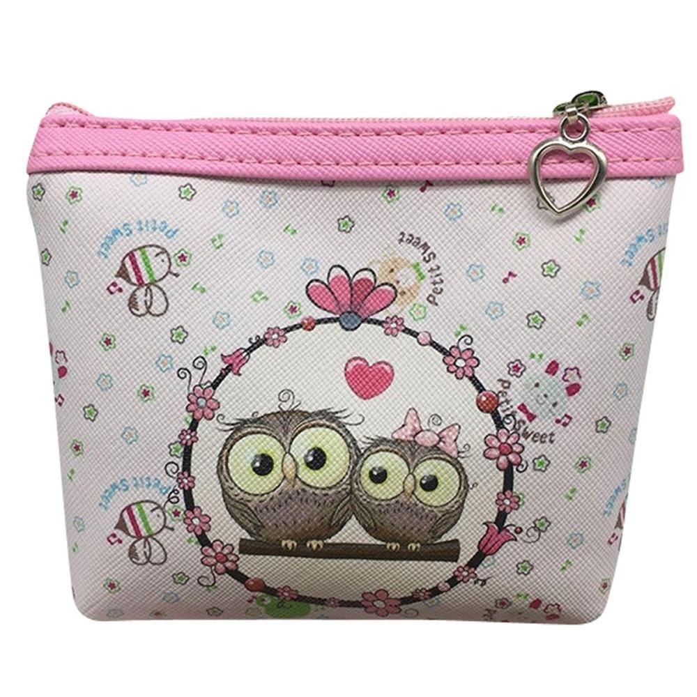 Womail Women Cute Mini Owl Zipper Handbags Girl ID Credit Card Coin Holder Wallet (H)