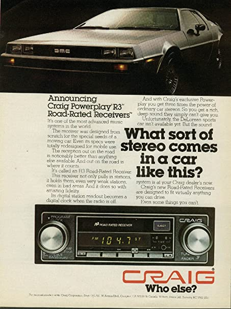 Review Announcing Craig Powerplay R3 Road-Rated Receivers ad 1978 1979 De Lorean