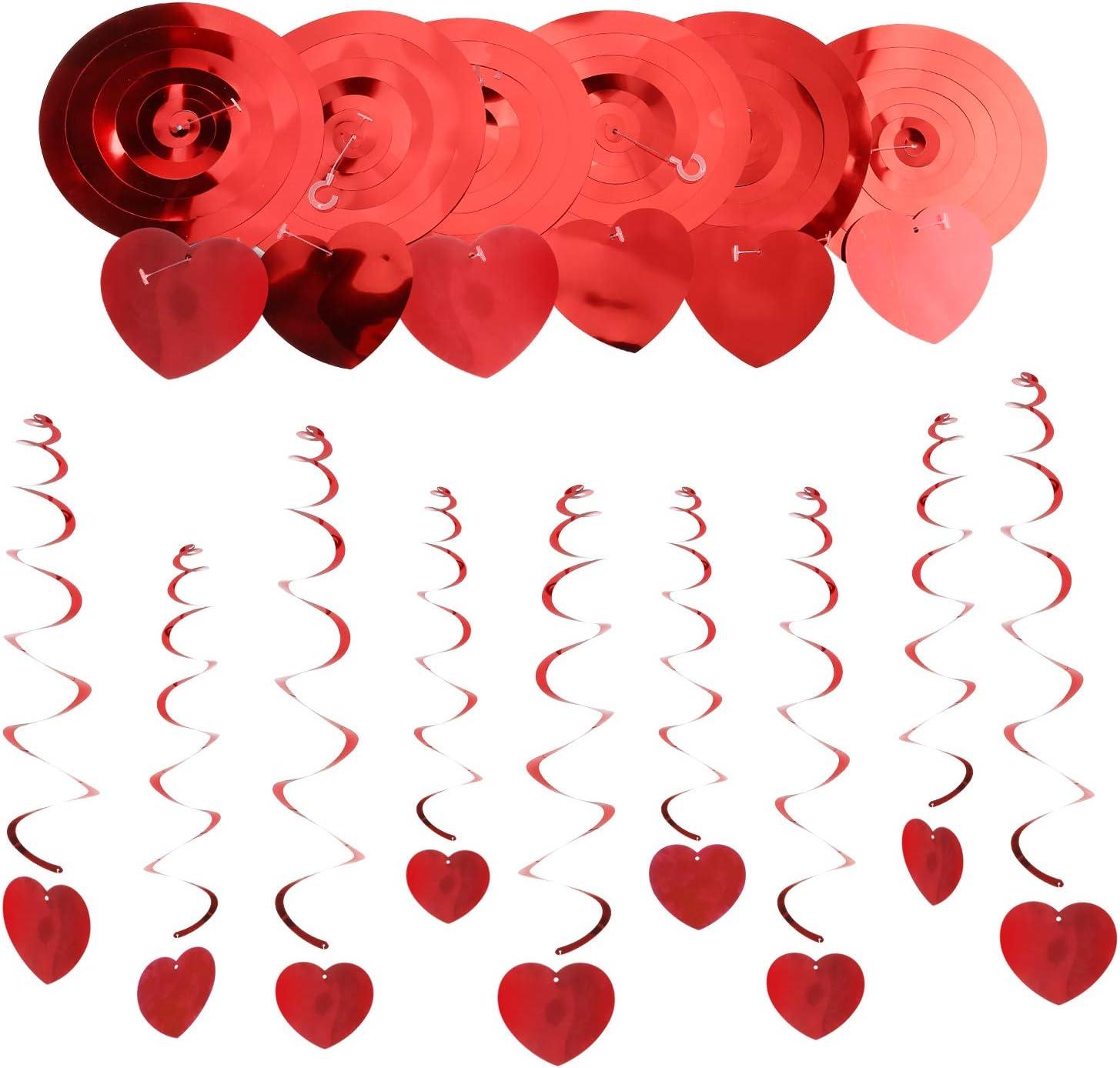 Howaf 30 Pi/èces Saint Valentin D/écoration Suspensions Rouge Coeur Guirlande Plafonds tourbillons pour Mariage Fian/çailles Saint Valentin D/écoration