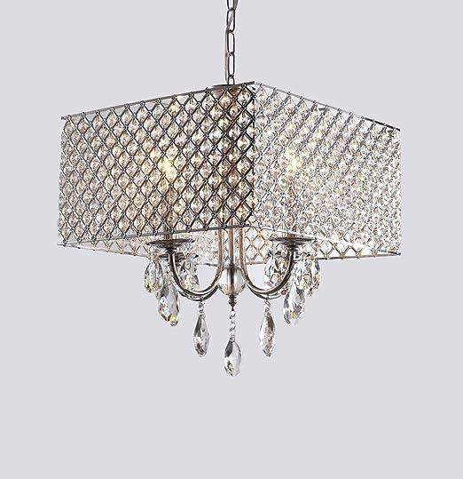 Lámpara colgante Comedor de Cristal (4 focos E14 Lámpara Techo de ...