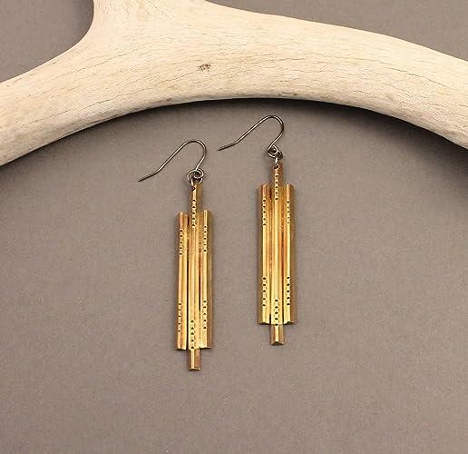 Amazon.com: Sanctuary brass native deco earrings: Handmade